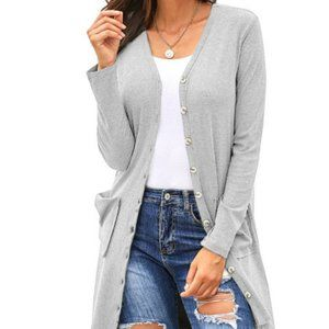 new High Low Long Button Cardigan Jacket gray L